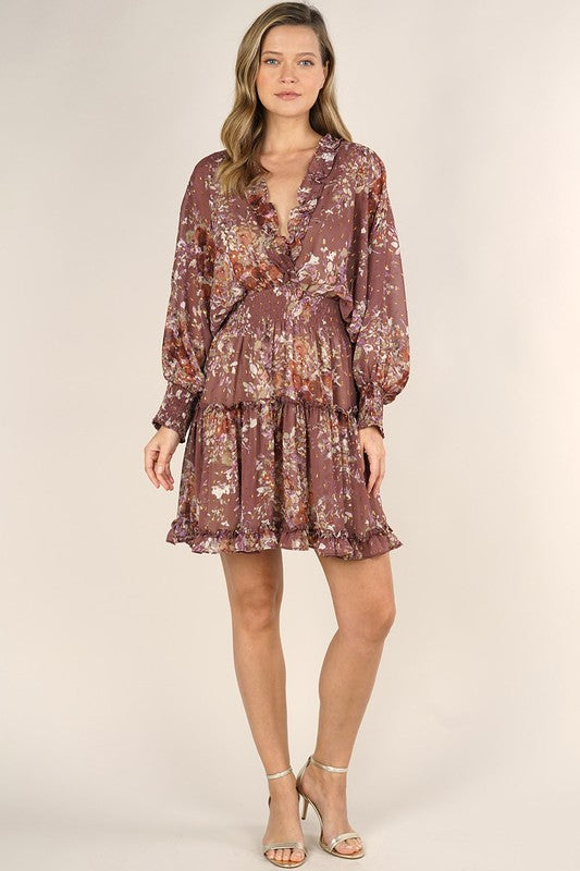 Dusty Mauve and Rust Fall Floral Print Long Sleeve Tiered Mini Dress