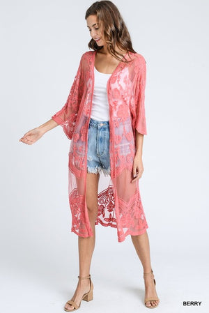 All Lace Cardigan with Half Scalloped Sleeves