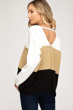 Off White Long Sleeved Color Block Rib Knit Tunic Top