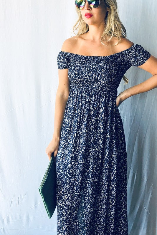 Navy Off the Shoulder Smocking Top Floral Maxi Dress