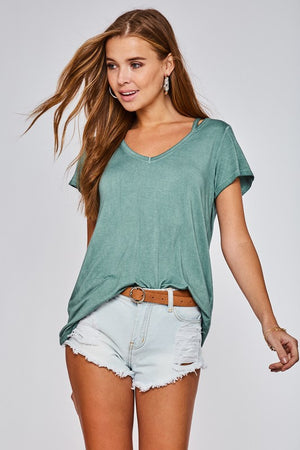 Mint Cut out Short Sleeve Top - ALL SALES FINAL
