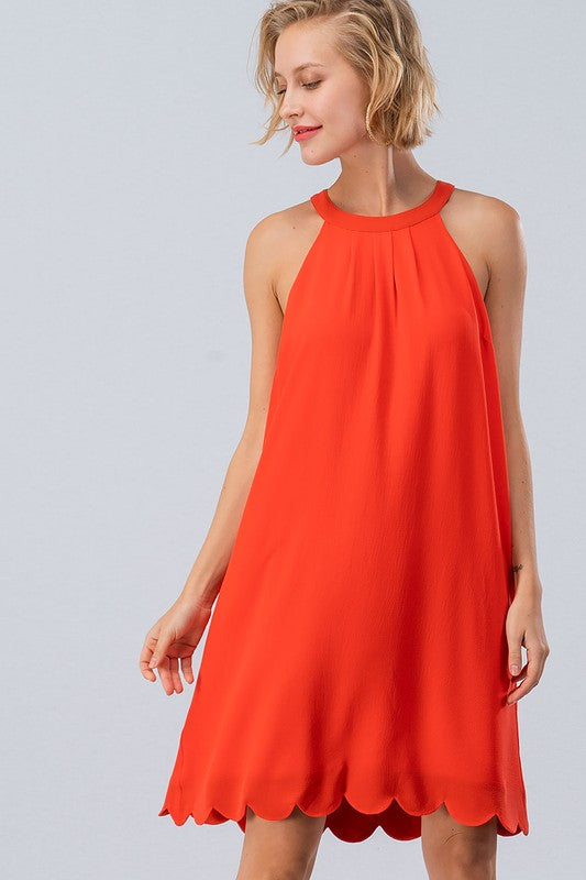 Orange High Neck Scallop Trimmed Mini Dress