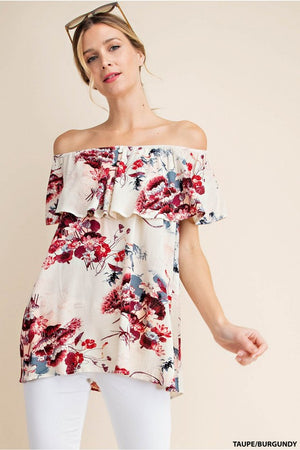 Taupe/ Burgundy Ruffle Floral Off the Shoulder Top