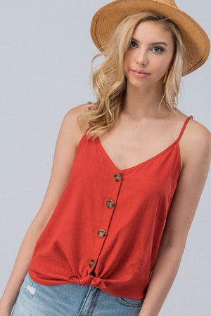 Linen Coconut Button Cami-ALL SALES FINAL