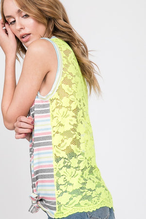 Muti Color/Neon Yellow Sleeveless Front Button Tie Stripe Top with Lace Back - ALL SALES FINAL