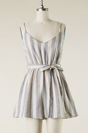 Denim Stripe Linen Romper