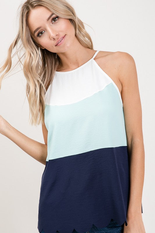 Mint Color block Scallop Edged Top with Keyhole Back Tie