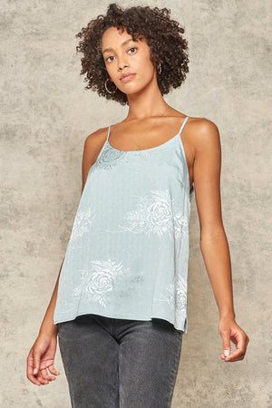 Sage Floral Satin Cami Top