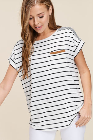 Black/Ivory Short Sleeve Stripe Top with Suede Accent on Pocket