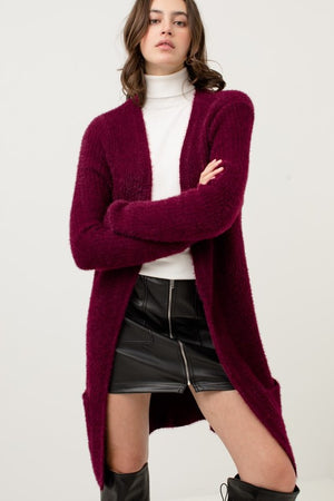 Wine Open Front Slim Fit Fuzzy Knitted Cardigan
