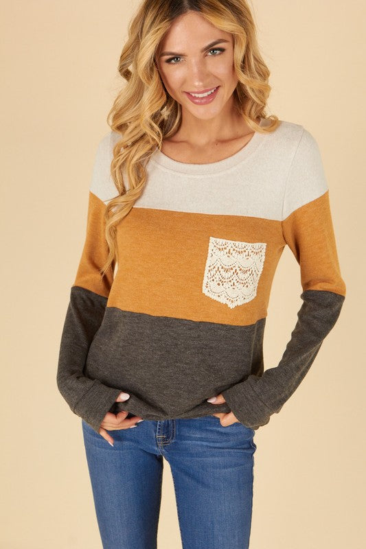 Mustard Color Block Long Sleeve Top with Crotchet Pocket