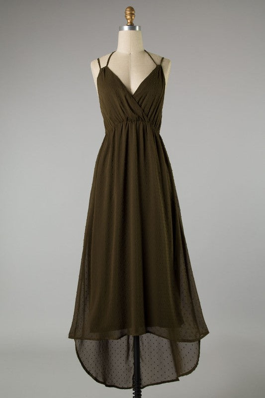 Olive Hi-Low Chiffon Dress