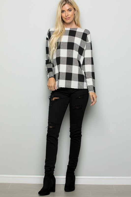Black/Ivory Long Sleeve Plaid Print with Twisted Open Back