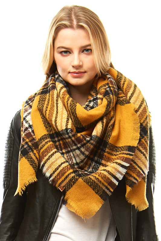 Mustard/Brown Plaid Blanket Scarf