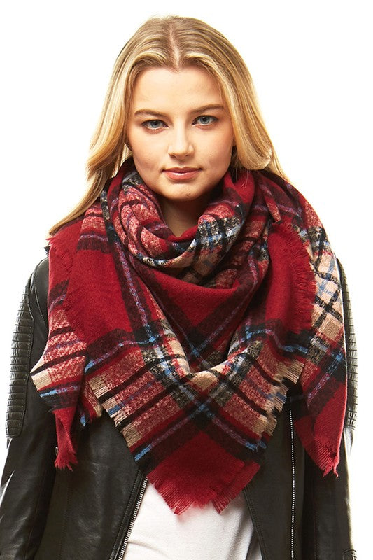 Burgundy/Black Plaid Blanket Scarf