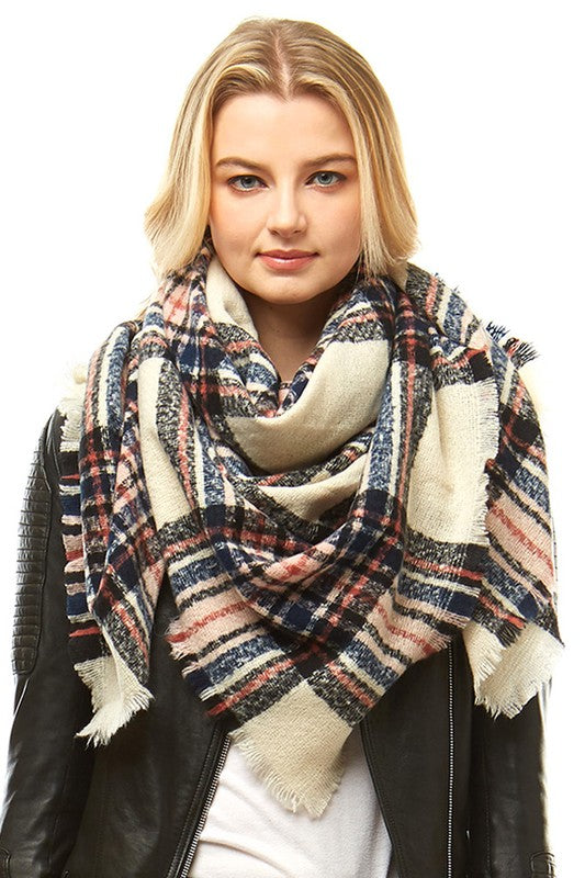Beige/Navy Plaid Blanket Scarf