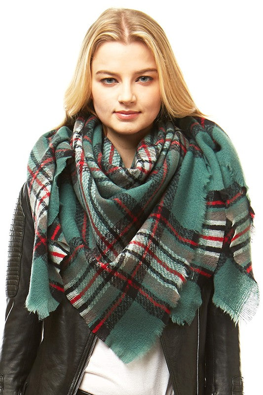 Olive/Red Plaid Blanket Scarf