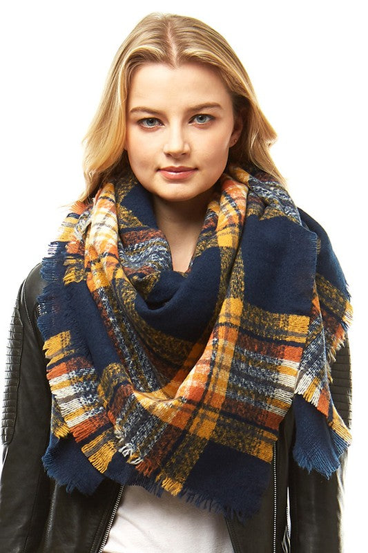 Navy/Yellow Plaid Blanket Scarf