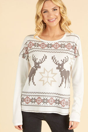 Ivory Thermal Reindeer Top  - ALL SALES FINAL