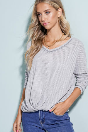 Grey Knit & Knotted Front Sweater