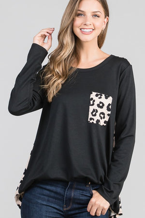 Black Animal Print Long Sleeve Top