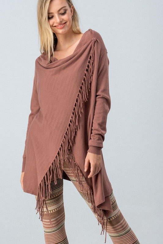 Mauve L/S Cardigan with Fringe