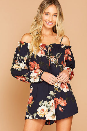 Navy Floral Cold Shoulder Romper