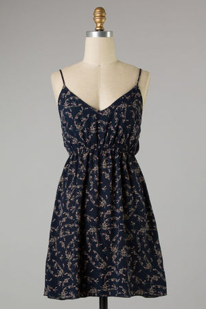 Navy Spaghetti Strap Floral Print Dress