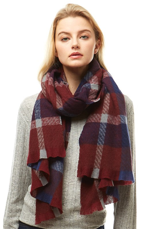 Navy/Burgundy Plaid Oblong Scarf with Fringe
