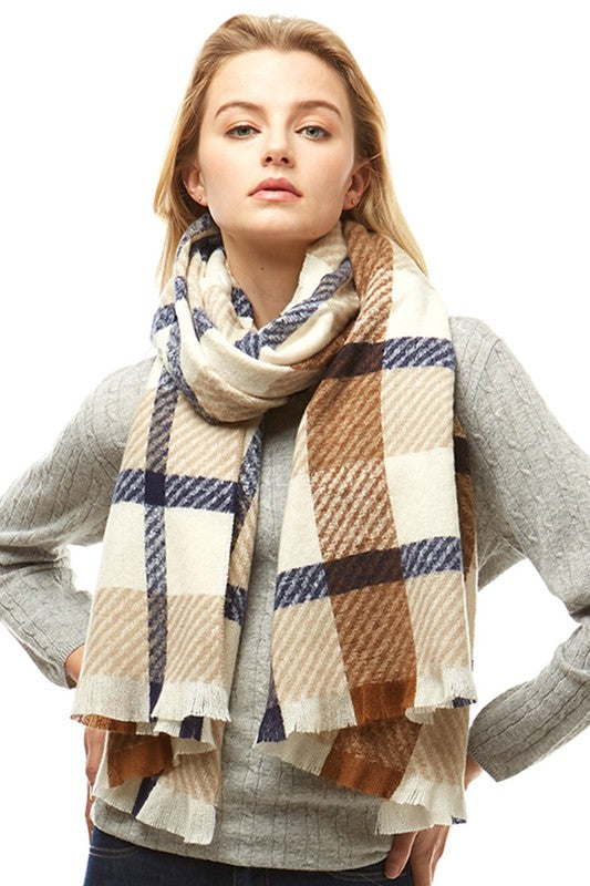 Ivory/Brown Plaid Oblong Scarf with Fringe