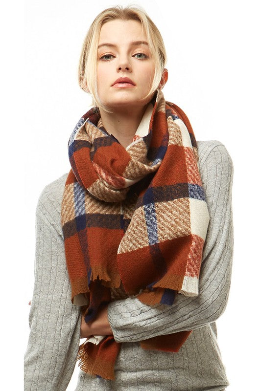 Brown/Blue Oblong Scarf with Fringes
