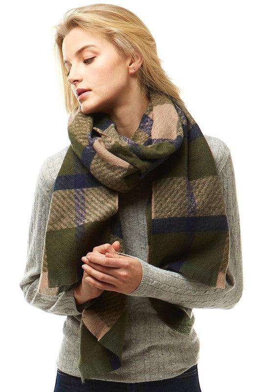 Olive/Beige Plaid Oblong Scarf with Fringe
