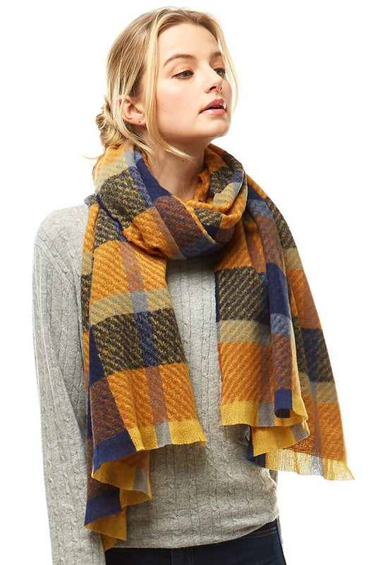 Mustard/Blue Plaid Oblong Scarf with Fringe