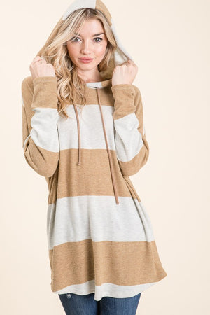 Mustard Long Sleeve Stripe Hoodie Tunic top