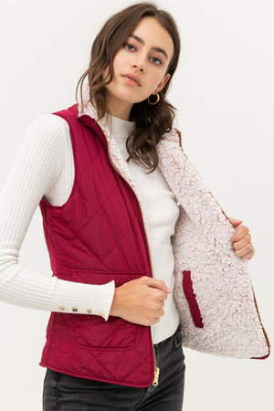 Wine Reversible Quilted Sleeveless Padding Vest
