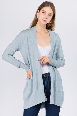 Heather Stratosphere Long Line Cardigan with Pockets
