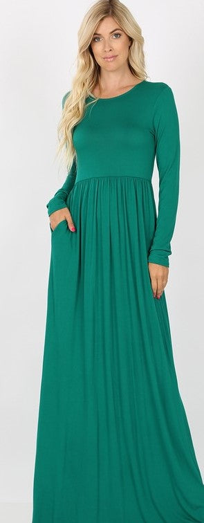 Forest Green Long Sleeve Round Neck Maxi
