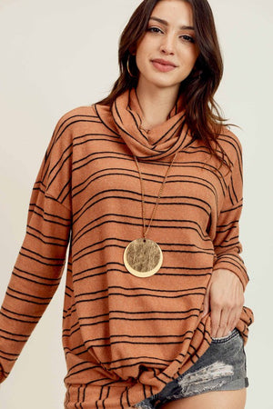 Camel/Black Striped Cashmere Top with Turtle Neckline