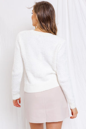 Ivory Fuzz Button Down Sweater-ALL SALES FINAL