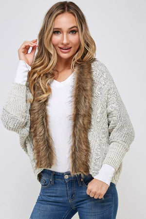 Light Grey Dolman Sleeve Cardigan with Fur Detail
