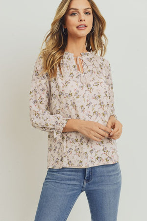 Taupe Floral Print Chiffon 3/4 Sleeve Top-ALL SALES FINAL