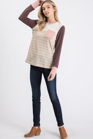 Oatmeal Striped Waffle Top with Color Blocked Long Sleeves-ALL SALES FINAL