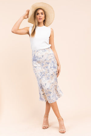 Blue - Multi Print Midi Skirt-ALL SALES FINAL