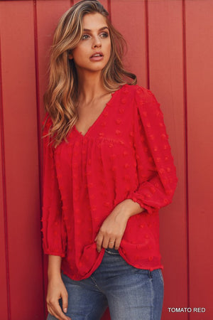 Tomato Red Solid Dot Pattern Top with 3/4 Bubble Sleeves-ALL SALES FINAL