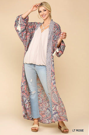 Light Rose Long Sleeve Mix Print Open Front Kimono with Side Slits-ALL SALES FINAL