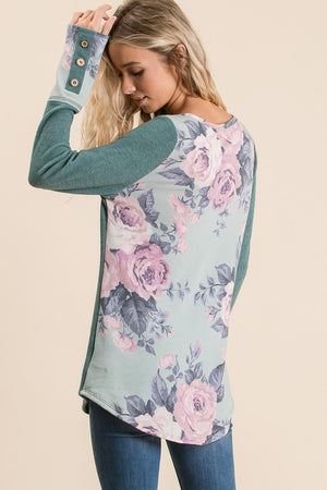 Teal Long Sleeve Button Detail Floral Contrast Top