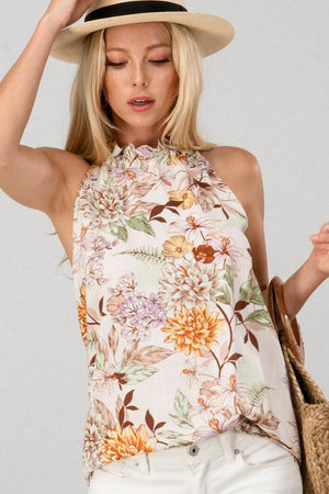 Ivory Floral Print Ruffle Neck Sleeveless Top