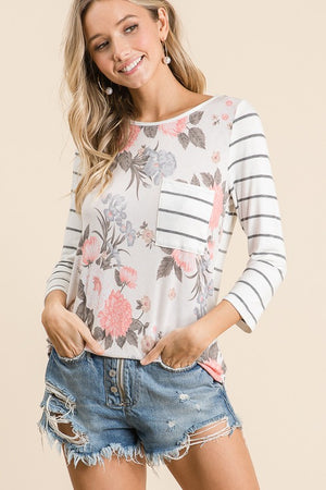 Charcoal and Ivory Three Quarter Sleeve Floral and Stripe Tunic Top-ALL SALES FINAL