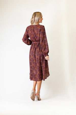 Burgundy Print Long Sleeve High Low Midi Dress