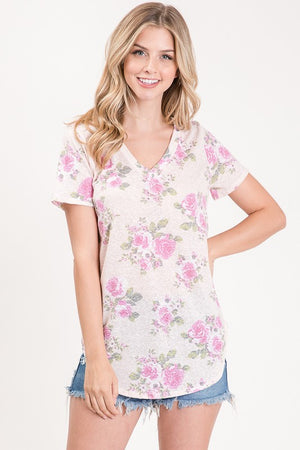 Pink Short Sleeve Floral Tunic Top-ALL SALES FINAL